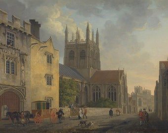Michael Angelo Rooker: Merton College, Oxford. Fine Art Print/Poster. (004120)