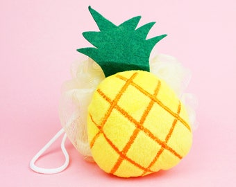 Pineapple Loofah, Bath Sponge, Yellow Loofah, Soap Sponge, Bath and Body, Gift Ideas