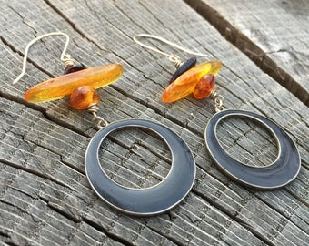 Long Baltic Amber Cairn Stack Earrings w/ Sterling Silver & Black Enameled Hoops - Minimalist Tribal Bohemian Ethnic Earthy Jewelry