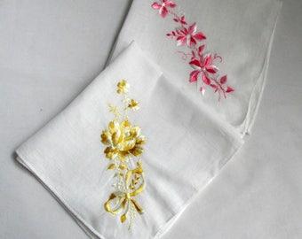 Vintage Embroidered Floral Cotton Handkerchiefs Hankies Hanky Two Birthday Wedding