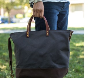 UTILITY TOTE | Modern Diaper Bag | Laptop Bag | Waxed Canvas Leather Bag With Zipper | 4 Pockets | Crossbody Strap | Grey