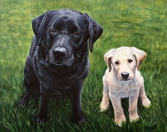 Custom Portrait Pet Painting, Two subject