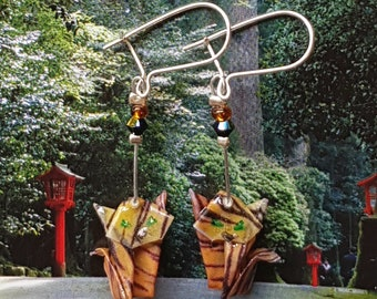 Red Tiger Cats origami - earrings