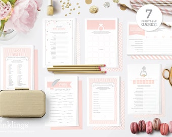 Printable Bridal Shower Games // 7 Games incl. Wishes for the Couple, Purse Game, Scattergories, Bridal Libs, World Scramble // Champagne