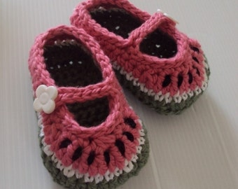 Download Now - CROCHET PATTERN Watermelon Mary Janes - Pattern PDF
