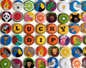 Lucky Dip Badges, cute badge pack, grab bag, lucky dip surprise, stocking filler, animal badges, pin back button badge, cute fun badges