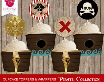 Instant Download | Printable Pirate Cupcake Toppers and Wrappers