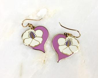 Vintage Laurel Burch Pink Hibiscus Floral Earrings