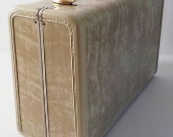 1950's Samsonite Suitcase • Ivory Marbleized Luggage • Mid Century Hard Sided Suitcase