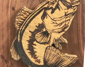 Custom Wood Burned Largemouth Bass Piece