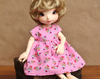 Modern Pink Pop Calico Dress for Realfee, Lati Yellow SP, and Blythe Dolls | Bright Pink Floral Doll Dress for Realfee BJD and Blythes
