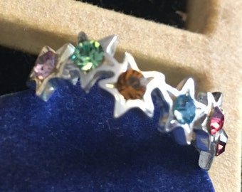 Sterling silver star ring with multi colored stones   VJSE