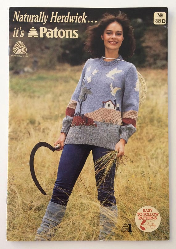 Vintage 1980s Patons Knitting Pattern Book Naturally Herdwick 6