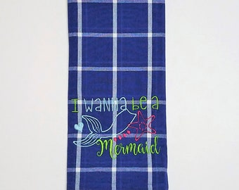 Mermaid Towel - Blue Towel - Embroidered Towel - Blue Mermaid Towel - Hand Towel - Tea Towel - Kitchen Towel - Small Towel