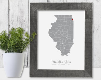 Illinois Map State of Illinois Wall Art Frame Canvas Guest Book Print Illinois Wedding Gift Illinois Love Personalise Anniversary Newlywed
