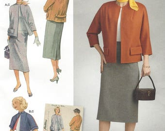 1950s Womens Vintage Kimono Sleeve Jacket in 2 Lengths and Skirt Simplicity Sewing Pattern 8464 Size 6 8 10 12 14 Bust 31 1/2 to 36 FF