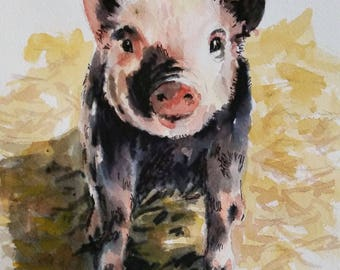 "My Little Piggy - 8"" x 10"" print of my original watercolor painting"