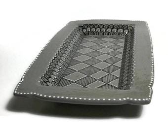 Ceramic Tray - Gray Ceramic Tray with Doodle Design - Jewelry Tray