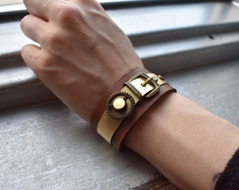 Brass Buckle on Leather band with clockwork detail, steampunk/ western/ bracelet/industrial