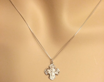 Tiny Sterling 4 Way Medal Petite Dainty Solid Sterling Silver WITH CHAIN Catholic St. Joseph