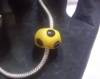 "Gold Euro Style ""Steelers""  Bead with Black Polka Dots Fits"