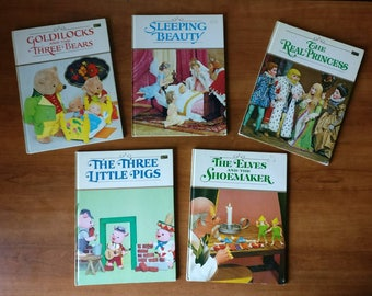 Vintage Puppet 5 Book set, The Elves and the Shoemaker, The 3 Little Pigs, The Real Princess, Sleeping Beauty, Goldilocks and the 3 Bears