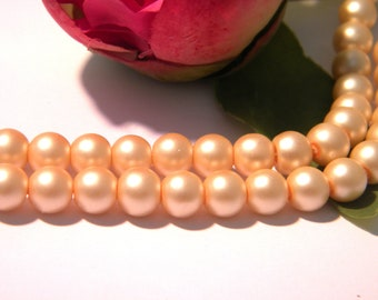glass beads 8 mm, glass bead, glass mat, satin, beige, 50 Pcs - H82-5