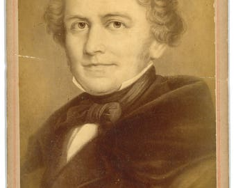 Cabinet Card of German composer and conductor Conradin Kreutzer. Signed with facsimile signature
