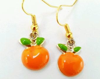 Orange earrings, fruit earrings, orange fruit earrings, enamel earrings, orange jewelry, fruit slice earrings, fruit slice jewelry