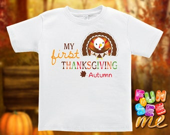 My First (1st) Thanksgiving - Personalized with Name - Tee / Boys / Girls / Infant