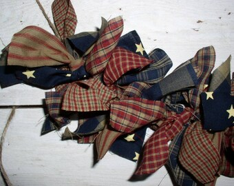 Primitive Americana Rag Garland Kit Pre-Cut Strips...Easy DIY Project for Patriotic Decor DIY Americana Homespun Fabric Garlands