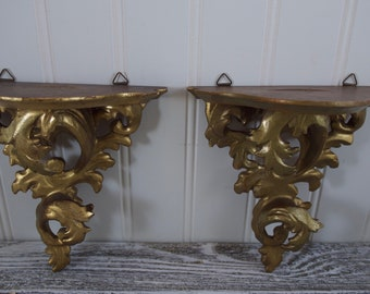 Florentine Style Gold over Gesso Small Wall Shelves, Rococo Style Acanthus Leaf, Set of 2 Made in Japan