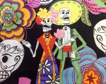 Los Novios (The Couple) by Alexander Henry Fabrics/Day of the Dead/Cotton Quilting Fabric/Sewing and Craft Fabric/HALF Yard Pricing