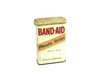 "Johnson & Johnson Band Aid Plastic Strips Tin, Vintage First Aid and Medical Supplies Tin, 1970""s, B1"