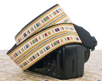 Country Stripe dSLR Camera Strap, SLR Camera Strap, Canon Camera Strap, Nikon Camera Strap, Pocket, Quick Release, Photographer Gift,  203 w