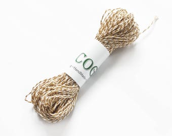Gold white cotton Twine , Bakers Twine,Natural Twine, Gift Packing Twine Crafting, Eco twin by EcoGG