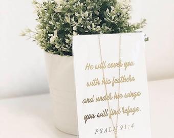 Psalm 91 feather necklace 4x6 gold foil scripture card