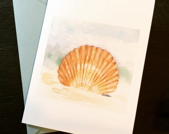 Seashell in the Sand--Watercolor Notecards (A6)