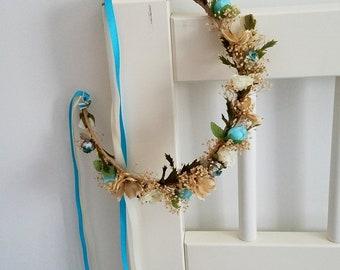 Custom Bridal Flower crown turquoise Hair wreath adornment destination wedding Accessories dried silk halo headpiece champagne