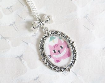 Necklace Cheshire Cat, Alice in Wonderland, silver-plated necklace cabochon cat gift for her