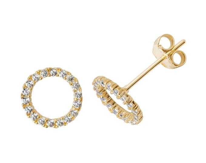 9ct Yellow Gold Pretty Eternity Cz Stud Earrings 6mm Diameter