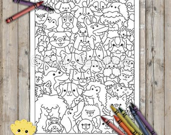 Cute Dogs Printable Coloring Page