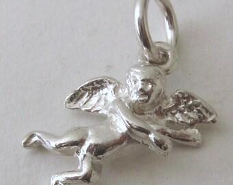 Genuine SOLID 925 STERLING SILVER 3D Cherub Angel charm/pendant