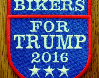Bikers for TRUMP Fully Embroidered Patch FULL COLOR, New for jacket, hat, vest