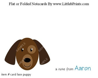 Animal Face Puppy Dog Note Cards Set of 10 personalized flat or folded cards