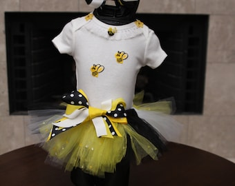Baby, Girls Bumble Bee, Yellow, Black and White Tutu, White T Shirt with Bumble Bee,  with Matching Hair Bow