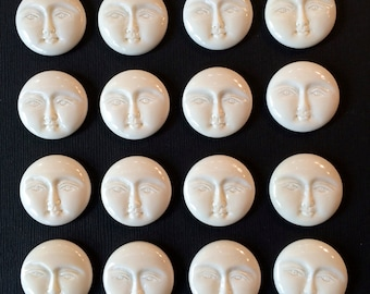 Moon Face Cabochon Carved Bone Round Bali Indonesia 25mm LAST ONE