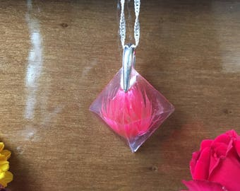 Real Immortal Flower in resin pyramid, Everlasting flower in resin pyramid, Immortal Pyramid