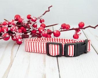 Red and White Dog Collar, Christmas Dog Collar, Christmas Cat Collar, Red Cat Collar, Stripe Dog Collar, Boy Dog Collar, Holiday Dog Collar