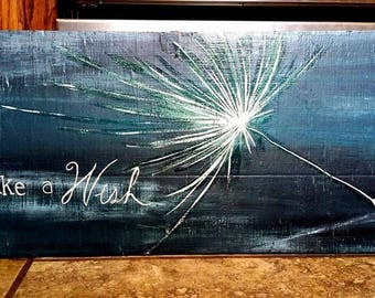 Make a Wish, wood slab art
